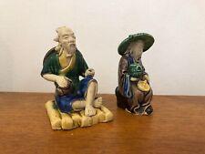 Vintage Pair Of Mud Men Clay Figurines Man Figures 1930s
