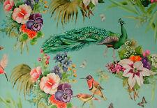 Aqua Peacock Butterflies Bird Botanical Curtain Upholstery Cushion Velvet Fabric