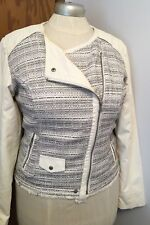 Maurices Faux Leather Tweed Plus XL Fitted Zipper Motorcycle Jacket Coat Zipper