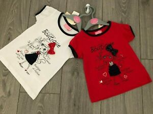 NEW GIRLS T-SHIRT FASHION 3D TOP RED WHITE PARIS DOLL BOUTIQUE DESIGN 1-4 YEARS