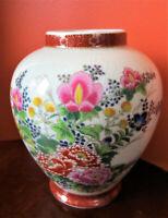 """Japanese Satsuma Crackle Glazed Barrel Vase   15cm or 6""""  High   Excellent Cond."""