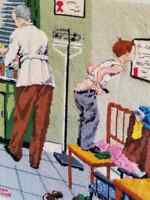 Norman Rockwell COMPLETED Cross Stitch 'At the Doctors' / 'Before the Shot'1958
