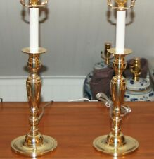 BRASS LAMPS Vintage Candlesticks PAIR Colonial American 4-W