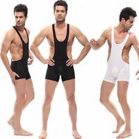 Men's Mesh Body Shaping Leotard Wrestling Singlet Struggles Backless Bodysuit
