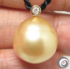 Stupendous 16.6x16.2mm Golden South Sea Pearl & 18K Gold Diamond Pendant #P4231