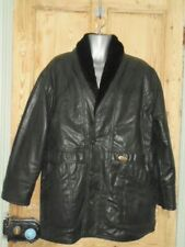 Men's V Collection Italy Black Faux Leather Fur Lined Sports Coat - Size M