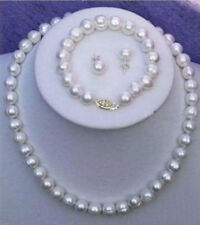 Genuine 7-8mm Natural White Cultured Pearl Necklace + Bracelet + Earrings Set