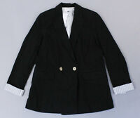 Topshop Women's Double-Breasted Linen-Blend Blazer MC7 Black Size US:6 UK:10 NWT