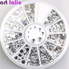High Quality Clear Mix Sizes ROUND Rhinestones with Wheel Nail Art Tips