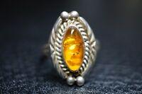 vintage Ring Bernstein 925 Sterling Silber ca. 6,45 Gramm / a42