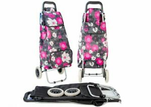 Large Capacity Strong Shopping Trolley Folding Durable Wheeled Bag Pink Floral