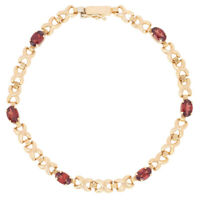 "NEW 3.00ctw Oval Cut Garnet Bracelet 7 1/4"" - 14k Yellow Gold Link"