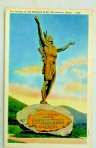 postcard of Statue on the Mohawk Trail, Charlemont, Mass.