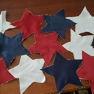 """Patriotic Red White Blue Cutout Stars July 4th Memorial Day 15x68"""" Table Runner"""