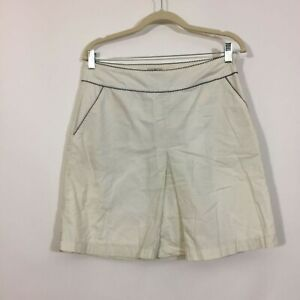 LL Bean Skirt Size 8P Petite White Side Zip A Line With Pockets