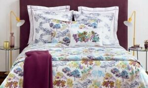 $285 Yves Delorme Paysage Queen Flat Sheet Cotton Modern Toile Forest Foliage