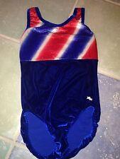 Snowflake Designs Girls Gymnastics Gym Leotard Red White Blue Adult Xs Euc
