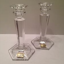 "NEW Pair of Mikasa Crystal Candleholders 6.25"" Hexagon Cambridge Pattern"