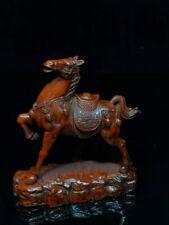 Collectable Decoration Handwork Boxwood Carving Horse Auspicious Elegant Statue
