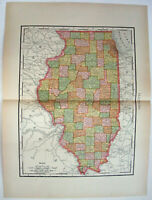 Original 1895 Map of Illinois by Rand McNally. Antique