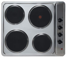 Sia 60cm True Fan Single Oven Electric 4 Zone Plate Hob and Chimney Cooker Hood