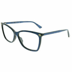 New Authentic Gucci GG 0025O 005 56 Blue Plastic Rectangle Eyeglasses 56mm