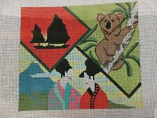 Handpainted Needlepoint Canvas Koala Bear And other places in the world.