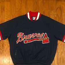Mint VTG Majestic Atlanta Braves Pullover Short Sleeved Windbreaker sz XL