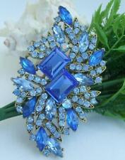 "Pendant Flower Leaf Brooch Pin Ee04079C5 Art Nouveau 3.94"" Blue Austrian Crystal"