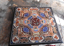 BLACK 2'X2' MARBLE DINING COFFEE SIDE CORNER CENTRE TABLE TOP MOSAIC WORK