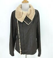 5/48 Jacket Women's Size L Fuzzy Faux Fur Moto Brown Full Zip High Neck Collar
