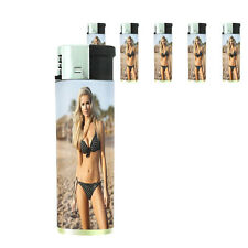 French Pin Up Girls D2 Lighters Set of 5 Electronic Refillable Butane