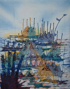 Fish Village Painting Double Process Batik Art Abstract fine quality.