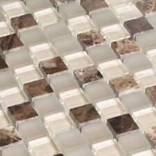 Glasmosaik Fliesen Mosaik Naturstein Emperador Marmor Braun Beige Poliert