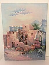 W Zeller Original Oil Canvas Signed Art Adobe houses Southwest