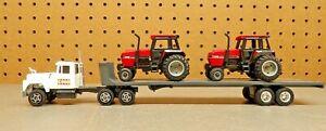 Vintage Ertl 1/64 Semi Mack Truck Lowboy w/ 2 Case IH  2594 tractors set 1:64