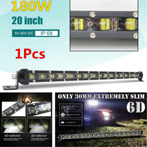 20inch 180W Slim Single Row Spot Beam LED Work Light Bar Off-Road Drive Fog Lamp