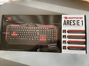 iBuyPower Spill Resistant Ares E1 Gaming Keyboard. Red & Black