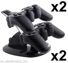 2xDual stand PS3 Wireless & Wired dual controller charging stand battery charger