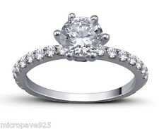 Beautiful Solitaire 1.5 Carat Ring Pave Setting With White Cubic Zirconia Stones