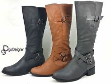 Womens PU Riding Rain Boots Knee High Slouch Motorcycle Flat Heel Shoes Size 5-9