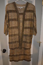 I.Magnin Gold & Coper Dress 100% Silk lining SizeP Vintage New With Tags