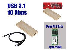 "Caja Aluminio USB 3.1 (10G) M2 - Para SSD M.2 NGFF Tipo ""SATA"" FORMATO 2260"