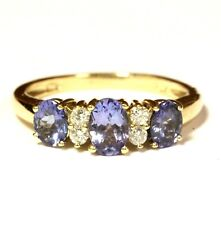 14k Oro Giallo .12ct SI2 H Diamante Ovale Tanzanite Anello 3g Vintage Donna