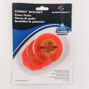 Sportcraft Power Puck orange neon air turbo hockey 2x round 1x octagon