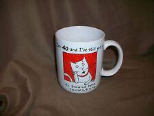 (Imperfect) 1988 Hallmark Shoebox Coffee Mug 40 Year Old Birthday Cat