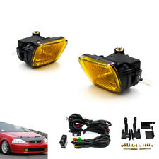 For HONDA CIVIC 1996-1998 2/3/4DR Yellow Bumper Fog Lights Driving Lamp + Switch