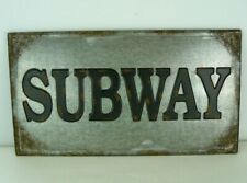"Tin Metal Sign SUBWAY Bar Pub Vintage Retro Wall Decor Distressed 22"" Tall x 12"""