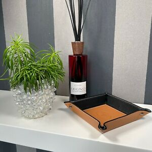Ablageschale Taschenleerer Lederschale Schlüsselschale echt Leder cognac-schwarz