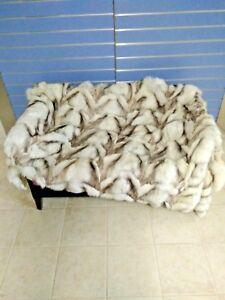 Luxury Blue Fox Fur Throw Genuine Real Fox Fur Blanket / Bedspread